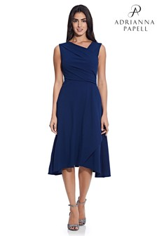 Adrianna Papell Blue Soft Draped A-Line Dress