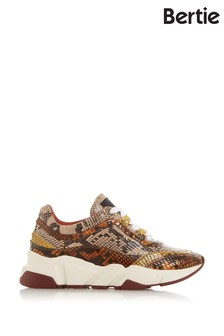 Bertie Elista Natural Reptile Print Leather Lace-Up Trainers