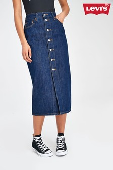 Levi's® Button Front Denim Midi Skirt