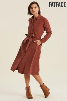 FatFace Brown Harlow Cord Midi Dress
