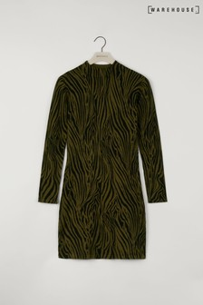Warehouse Green Zebra Funnel Neck Mini Dress