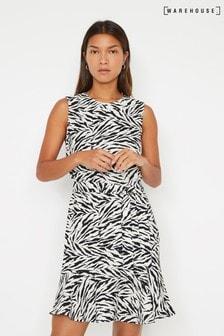 Warehouse Animal Zebra Print Flippy Mini Dress