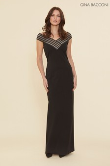 Gina Bacconi Black Ismeria Stretch Crepe Maxi Dress