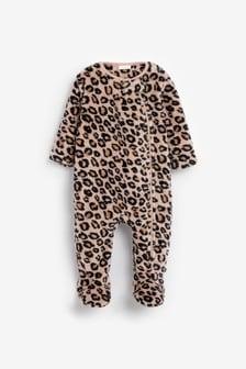 Leopard Fleece Sleepsuit (0mths-3yrs)