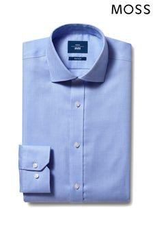 Moss 1851 Tailored Fit Sky Single Cuff Twill Non-Iron Shirt