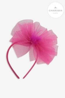 Charabia Fuchsia Mesh Bow Headband