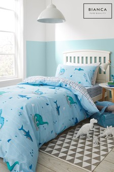 Dinoshark And Check Cotton Duvet Cover and Pillowcase Set by Bianca