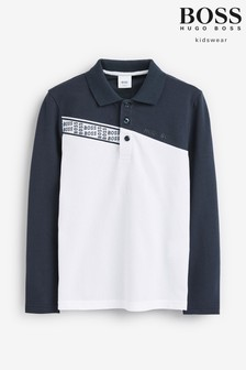 BOSS White/Navy Long Sleeve Poloshirt