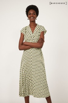 Warehouse Black Geo Pleated Lapel Midi Dress