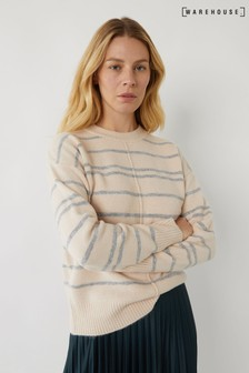 Warehouse Cream Thick & Thin Stripe Jumper