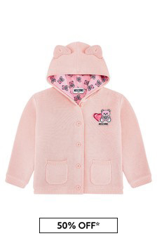 Baby Girls Pink Cotton Cardigan