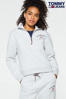 Tommy Jeans Grey Flag Logo Quarter Zip Top