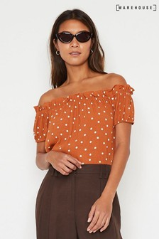 Warehouse Tan Polka Dot Bardot Top