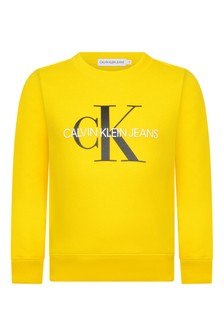 Calvin Klein Jeans Kids Yellow Organic Cotton Logo Sweater