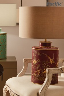 Gilded Golden Bird Hand Painted Red Metal Table Lamp by Pacific Lifestyle