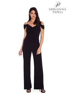 Adrianna Papell Black Shirred Wrap Jumpsuit