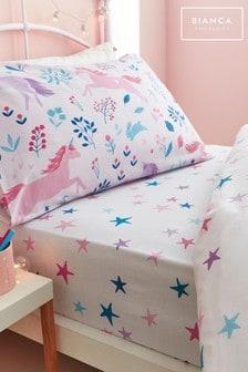 Bianca Pink Woodland Unicorn And Stars Cotton Fitted Sheet