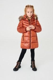 Shower Resistant Faux-Fur Trim Long Padded Jacket (3-16yrs)