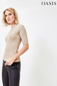 Oasis Natural Sparkle Short Sleeve Jumper