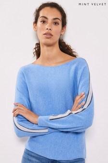 Mint Velvet Blue Ottoman Stripe Knit Jumper