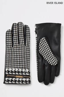 River Island Black Check Dogtooth Gloves