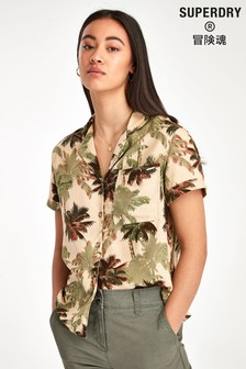 Superdry Brown Palm Print Shirt