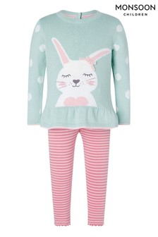 Monsoon Aqua Baby Bunny Knit Top And Legging Set