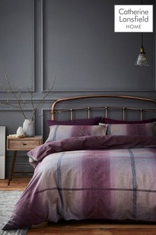 Catherine Lansfield Purple Berwick Tweed Brushed Cotton Duvet Cover and Pillowcase Set