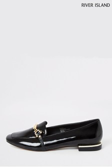 River Island Black Smoke Hardware Detail Ballet Shoes