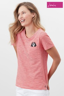 Joules Red Carley Print Classic Crew T-Shirt