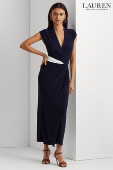 Lauren Ralph Lauren® Navy White Contrast Stretch Rhiannan Dress