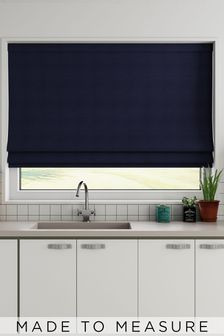 Made To Measure Navy Cotton Roman Blind