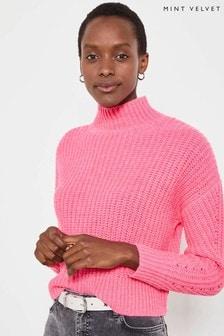 Mint Velvet Pink Neon Chunky Rib Boxy Jumper