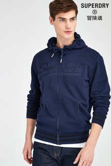 Superdry Navy Embroidered Zip Through Hoody