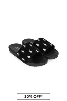 Ralph Lauren Kids Unisex Black Gansett Sliders