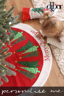 Personalised Woodland Trees Christmas Tree Skirt by Dibor
