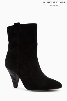 KG Black Suede Token Pull On Western Mid Boot