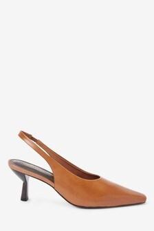 Signature Leather Chisel Toe Slingback Shoes