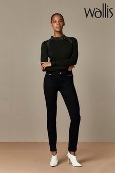 Wallis Black Double Belt Loop Harper Jeans