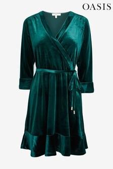 Oasis Green Velvet Wrap Tea Dress