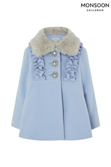 Monsoon Children Blue Baby Florrie Frill Coat