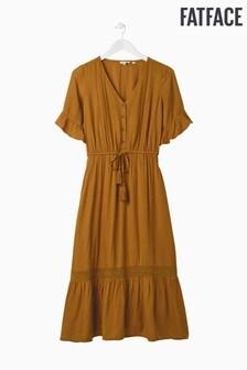 FatFace Brown Esme Lace Midi Dress
