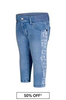 Baby Boys Blue Denim Music Notes Jeans