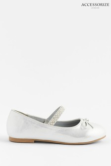 Accessorize Natural Diamanté Strap Ballerina Flats