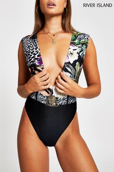 River Island Black Jungle Plunge Blocked Belted Swimsuit