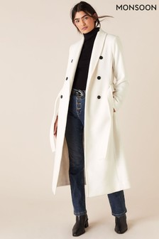Monsoon White Double Breasted Long Coat