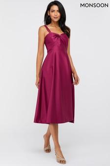 Monsoon Pink Savannah Twist Neck Satin Midi Dress