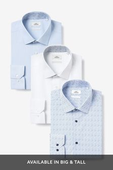 Print And Contrast Trim Shirts Three Pack