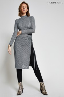 Harpenne Grey Ruched Crochet Jersey Midi Dress