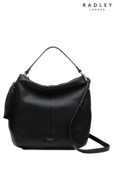 Radley Black London Artisan Road Large Zip Top Hobo Bag